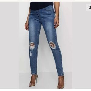 Maternity Over The Bump Distressed Skinny Jeans